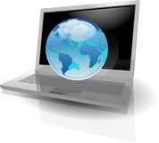 Realistic silver laptop and blue Globe Royalty Free Stock Image