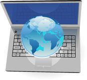 Realistic silver laptop and blue Globe Stock Image