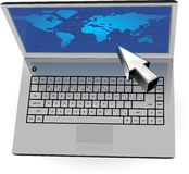 Realistic silver laptop with blue map and cursor Royalty Free Stock Photography