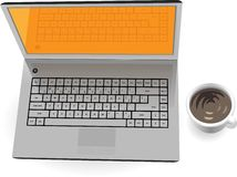 Realistic silver laptop with cup of coffee Stock Photo