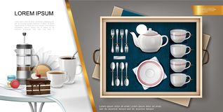 Realistic Silverware And Kitchenware Concept stock photos