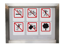 Realistic Six safty caution prohibit sign in the aluminium frame Royalty Free Stock Photography