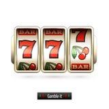 Realistic slot machine isolated stock illustration