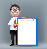 Realistic Smart Professional or Business Man Character stock illustration