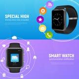Realistic Smart Watch Banner Set stock illustration
