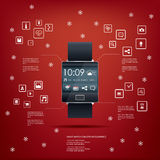 Realistic smart watch concept design with computer. Icons for applications on red background. Eps10 vector illustration Royalty Free Stock Image