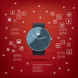 Realistic smart watch concept design with computer. Icons for applications on red background. Eps10 vector illustration Stock Photography