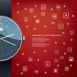 Realistic smart watch concept design with computer. Icons for applications on red background. Eps10 vector illustration Royalty Free Stock Images