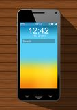 Realistic smartphone. Black color on the wooden table Stock Illustration