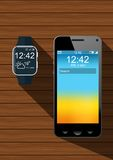 Realistic smartphone and a smart watch. In black on wooden table Royalty Free Illustration