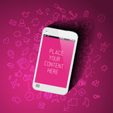 Realistic smartphone template with background icons Royalty Free Stock Photo