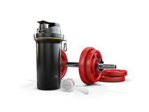 Realistic Smartshacke without label and red dumbbells, 3d Illustration isolated on white background. Stock Photography