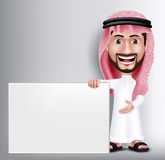Realistic Smiling Handsome Saudi Arab Man Character. In 3D Posing Gesture with Thobe Dress Holding White Blank Board for Text or Titles. Editable Vector Royalty Free Stock Photos