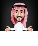 Realistic Smiling Handsome Saudi Arab Man Character. In 3D Posing with Thobe Dress Talking Showing White Board for Text or Titles with Welcome Hand Gesture Royalty Free Stock Photo