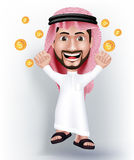 Realistic Smiling Handsome Saudi Arab Man Character. In 3D with Thobe Dress Jumping for Joy with Gold Dollars Money Like he Won. Editable Vector Illustration Stock Photos