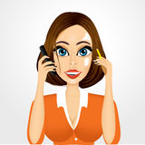 Realistic smiling secretary talking on the phone Royalty Free Stock Images