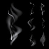 Realistic smoke set. Set of Vector realistic smoke on black background Royalty Free Stock Photo