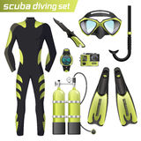Realistic snorkeling and scuba diving equipment. Scuba-diving gear isolated. Diver wetsuit, scuba mask, snorkel, fins. Realistic snorkeling and scuba diving set Stock Image