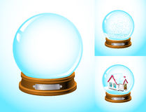 Realistic snow globe. Empty and with snow and a house inside Royalty Free Stock Photos