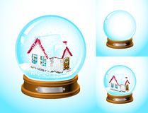 Realistic snow globe. With a house inside ( with and without snow and the empty one Royalty Free Stock Photography