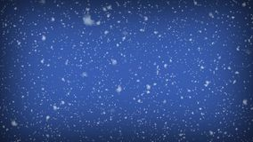 Realistic snowfall on abstract blue copy space background