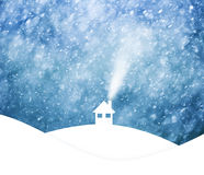 Realistic snowfall with house on hill landscape background. Misty blue colored sky with realistic heavy snowfall, Christmas and New Years Holiday winter Royalty Free Stock Photography
