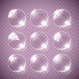 Realistic soap bubble pink colors. Realistic soap bubble pink on gray background. vector soap bubble illustration. Soap Bubble set. Vector illustration stock illustration