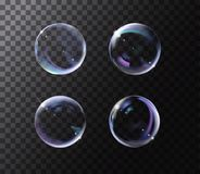 Realistic soap bubble with rainbow colors on black background. Soap Bubble set with glares. Bubbles illustration vector vector illustration