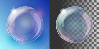 Realistic soap bubble with rainbow colors. On blue and transparent background. Vector illustration stock illustration