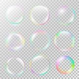 Realistic soap bubble set with rainbow reflection. Isolated vector on a transparent background. Illustration with transparencies, gradient and effects Royalty Free Stock Photo