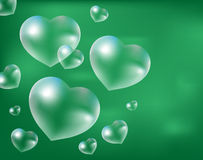 Realistic soap bubbles Heart-shaped. Drops of water in a  shape. Valentines day, love, romance concept. Vecto Stock Photos