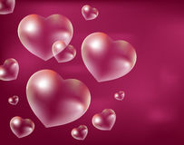 Realistic soap bubbles Heart-shaped. Drops of water in a shape. Valentines day Royalty Free Stock Images