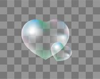 Realistic soap bubbles Heart-shaped realistic, 3d style. Isolated on a transparent background. Drops of water in a heart Royalty Free Stock Image