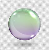 Realistic soap bubbles with rainbow reflection isolated on transparent background. Vector illustration. stock illustration