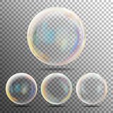 Realistic Soap Bubbles With Rainbow Reflection Set Isolated On On Transparent Checkered Background. Vector Illustration Stock Images