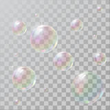 Realistic soap bubbles with rainbow reflection royalty free illustration