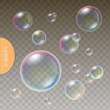 Realistic soap Transparent bubbles with colored Stock Photos