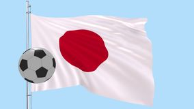 A realistic soccer ball flies around the realistically fluttering flag of Japan on a transparent background, 3d rendering, PNG for royalty free illustration