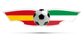 Realistic soccer ball or football on Itali and Spain flag background. Vector illustration. Royalty Free Stock Photo