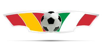 Realistic soccer ball or football on Itali and Spain flag background. Vector illustration. Stock Image