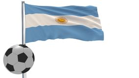 A realistic soccer ball and the realistically fluttering flag of Argentina on a white background, 3d rendering. Royalty Free Stock Photo