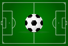 Realistic, soccer field and soccer ball. Royalty Free Stock Photography
