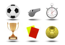 Realistic soccer set of icons with referees objects, trophy, football ball, stopwatch, yellow and red card isolated on. White background illustration vector illustration