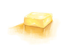 Realistic soft yellow butter bar digital painting illustration Royalty Free Stock Image