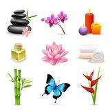 Realistic spa icons stock illustration