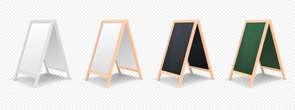 Realistic menu announcement board icon set isolated on transparent background.. Realistic special menu announcement board icon set isolated on transparent Royalty Free Stock Photography