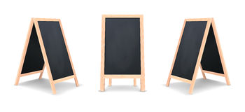 Realistic special menu announcement board icon set. Vector clean restaurant outdoor blackboard background. Mockup of Stock Photo