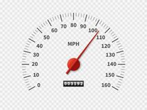 Realistic speedometer. Car odometer speed counter dial meter rpm motor miles measuring scale white engine meter concept