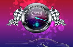Realistic Speedometer and checkered flags Royalty Free Stock Photo
