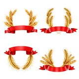 Realistic Spikelet Wreaths With Ribbons Royalty Free Stock Images